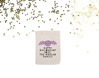 Cute Bat Personalized Halloween Party Favor Bag Custom Candy and Gift Card Holder