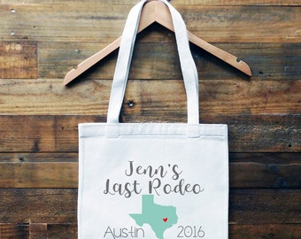 Texas Bachelorette Personalized Tote Bag// Austin Bachelorette Tote Bag // Last Rodeo Tote Bag