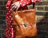 Large Tan Leather Messenger Bag