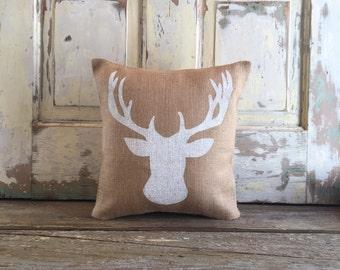 Burlap Pillow - Reindeer pillow  | Holiday Decor | Holiday pillow | Christmas pillow | Christmas decor | Woodland Decor |