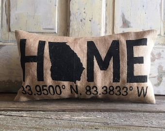 Pillow Cover | Home Pillow | Burlap Pillow | Coordinates pillow | State pillow | Latitude Longitude pillow | Gift for Him | Graduation Gift