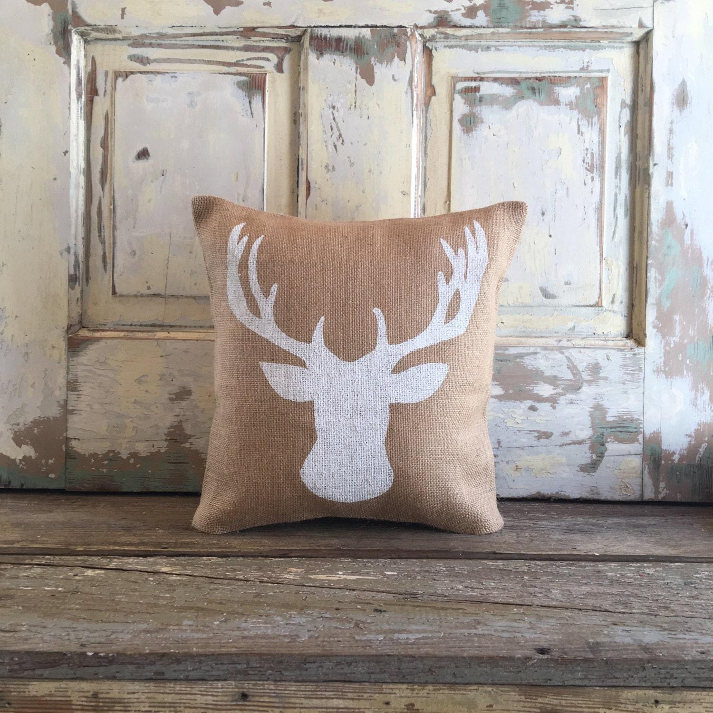 Burlap Pillow Deer Pillow Deer Bust Pillow Woodland