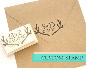 Custom rubber stamp, Wedding invitation, Initial and date, Handmade stamp, Antler rubber stamp, Reindeer horn DIY wedding Wedding date stamp