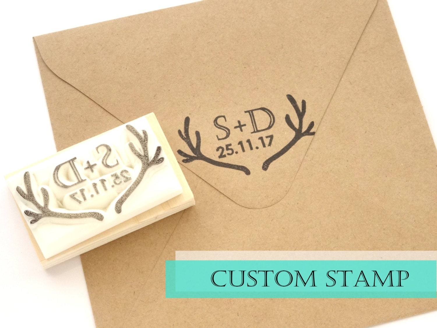 Personalized Rubber Stamps For Wedding Invitations: Custom Rubber Stamp Wedding Invitation Initial And Date