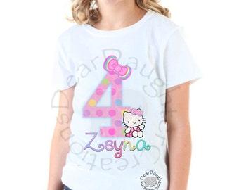 Custom Hello Kitty Birthday Iron on Tshirt