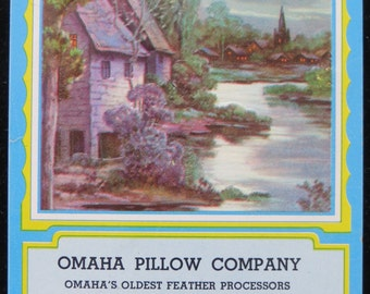 Vintage 1955 Omaha Pillow Company Advertising Calendar - Embossed - Free Shipping
