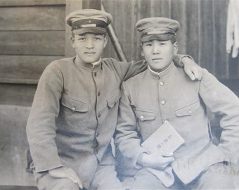 Comrades In Arms - 1940's Japanese Army Soldiers Snapshot Photo - Free Shipping