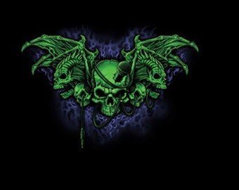 Demon Winged Skull T SHIRT, ( Sweatshirt, Quilt Fabric Block, Available On Request)  #058o