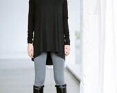Long Sleeved Tunic Top/ Charcoal Melange Drape Top/ Drape Dress/ Loose Casual Blouse by Arya Sense/ TTN13BM