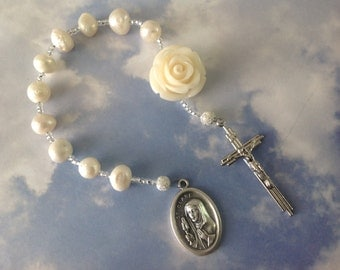 Freshwater Pearl Pocket Rosary Single Decade Tenner Rosary Chaplet Catholic Rosary