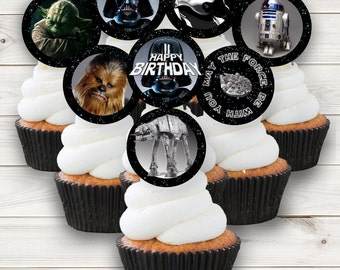Star Wars Cupcake Toppers Birthday Party Darth Vader Instant Download