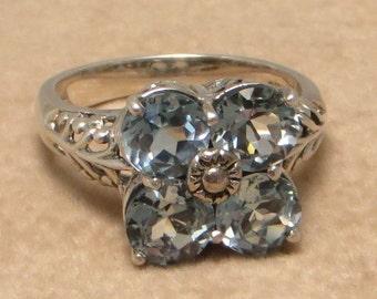 Lovely vintage Art Deco style signed CNA Thailand sterling silver blue topaz filigree ring size 6 1/2