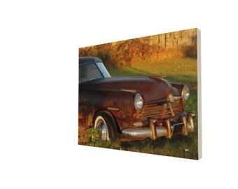 Hudson Car Photography Canvas Wrap Photograph Gallery Wrapped Canvas Automobile Wall Decor Rusty Vintage Classic Car Photographic Art Print