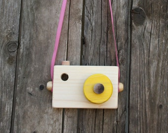 Yellow Wooden Camera, Pretend play, Waldorf toy,Toddler toy, Handmade, Toy camera, Toddler gift
