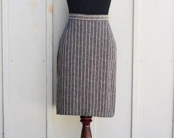 Vintage Pinstripe Skirt - High Waist Mini Skirt - Retro Mod Skirt - 90s Grunge Skirt - A Line Skirt - 1990s Striped Skirt - Indie Skirt