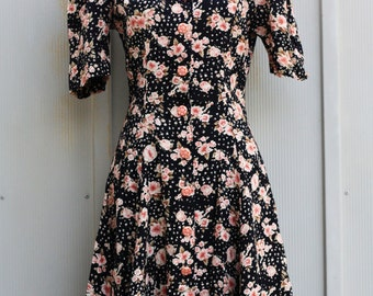 Floral Dress, Babydoll Dress, Skater Dress, 90s Dress, Grunge Dress, Button Down Dress, Mini Dress, Pink and Black Dress, 1990s Dress, Indie