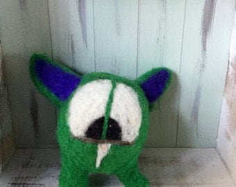 Needle Felted Monster, Wool Felted Monster, Green Felted Monster