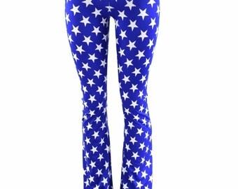 Womens Boot Cut Blue & White Star High Waist Spandex Leggings Yoga   152808