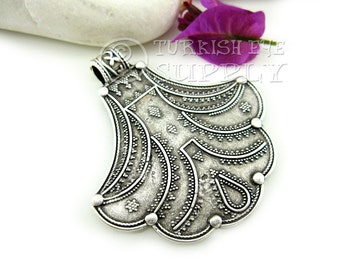 Large Tribal Pendant, Antique Silver Plated Boho Pendant, Turkish Jewelry Supplies