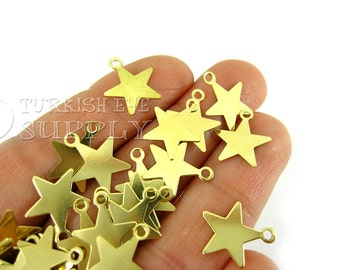 100 pcs Raw Brass Mini Star Charms, 14x12mm Tiny Star Findings, High Quality Raw Brass Findings