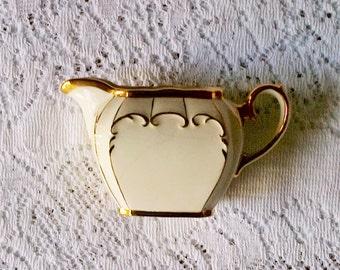 Sadler Ivory & Gold Cube Shape Milk Cream Creamer Jug - Made in England