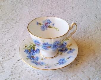 Adderley Blue Floral Fine Bone China Footed Tea Cup & Saucer - Made in England