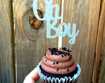 Oh Boy cupcake Toppers, baby shower cupcake toppers, boy cupcake toppers, it's a boy cupcake toppers, baby shower decorations, baby shower