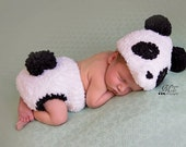 Instant Download Crochet Newborn Fuzzy Panda Hat and Diaper Cover Set with Amigurumi Bamboo Pattern, Baby Panda Outfit Photo Prop Pattern