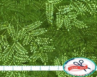 GREEN FERN BATIK Fabric by the Yard, Fat Quarter Leaf Green Fabric Hand Dyed Fabric Quilting Fabric Apparel Fabric 100% Cotton Fabric t7-9