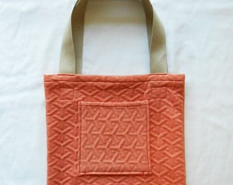 Coral quilted tote - shopping bag