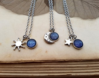 3 Sun Moon Star Necklaces, best Friends Jewelry, Moon Necklace, Sun Necklace, Star Necklace, Sisters Gift idea, 3 Matching Necklaces, Galaxy