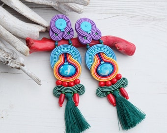 Rainbow boho soutache earrings, Long tassel earrings, Chandelier earrings, Blue green beaded earrings, Statement earrings, Soutache jewelry
