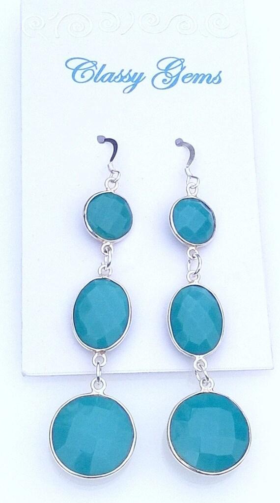 Turquoise Earrings, Gemstone Earrings, Drop Earrings