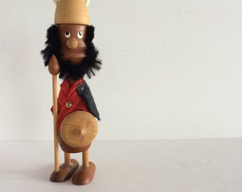 "Scandinavian Wood Viking Folk Art Figure - Danish - Charming Teak Viking - 9.5"" Tall! - Scandinavia Sweden Norway Finland Interior Decor"
