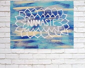 Namaste floral acrylic canvas painting for girls room, dorm room, apartment, nursery, or home decor