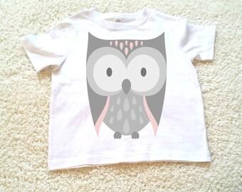 Owl Children's Toddler Tshirt. Sizes 2T, 3t, 4t, 5/6T graphic kids shirt gift