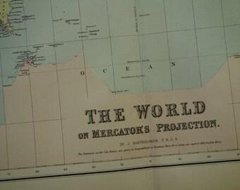 old WORLD map LARGE 1875 original antique worldmap poster print of Mercator's projection vintage maps Weltkarte Wereldkaart 55x71c 22x28 inc