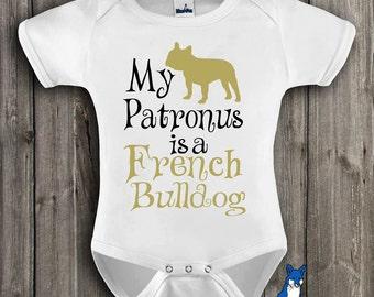 Geekery Baby Clothes,French Bulldog,My Patronus is a French Bulldog,Frenchie shirt,Cute Baby clothes,Baby bodysuit,Blue Fox Apparel, 263_6