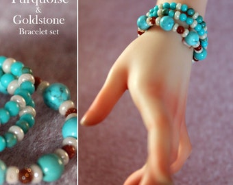 Turquoise and Goldstone Bracelet set for BJD (1)