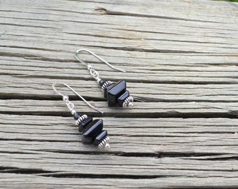 Black Onyx Stacked Square Earrings, beaded with Black Spinel, Bali and Sterling Silver