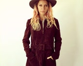 Bozeman Jacket // vintage 60s 70s blazer coat boho bohemian hippie brown hippy suede leather dress hipster high waist fashion // S/M