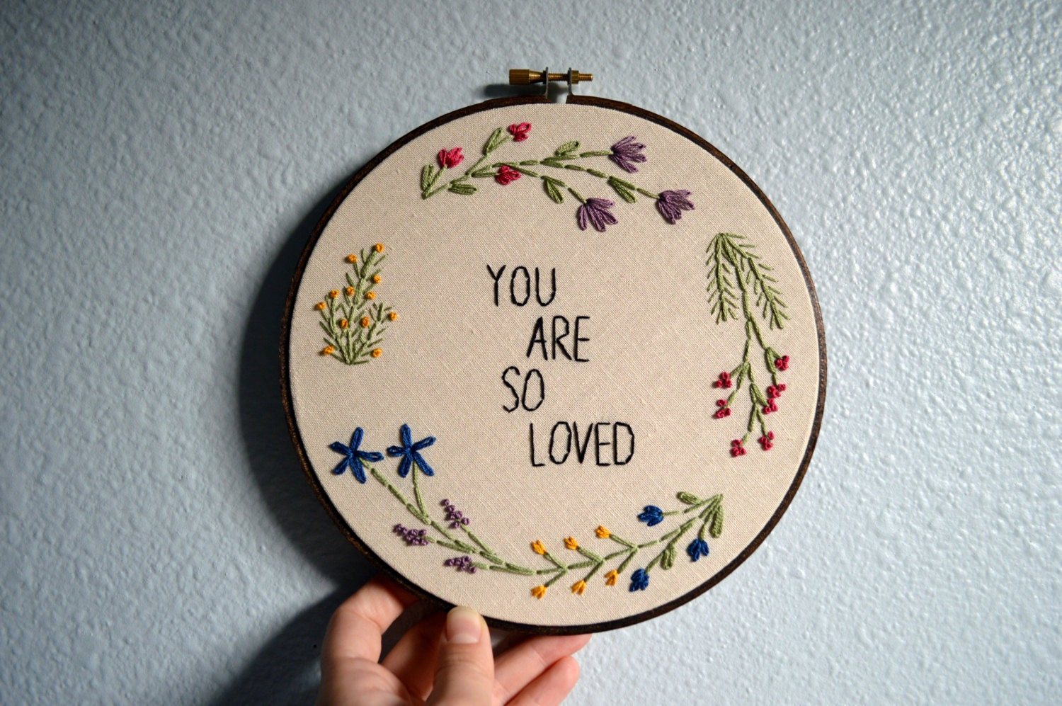 You are so loved floral wreath embroidery hoop by