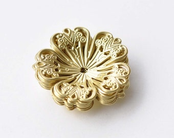 10 pcs Raw Brass Five Petal Large Filigree Flower Bead Cap Embellishments 32mm A8576