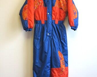 Vintage 90s One Piece Kids Ski Suit Bright Blue Orange Snowsuit Hipster Snow Pants Outdoor Winter Wear Jumpsuit Snowboard 128 cm 7-8 years