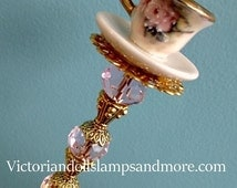 Tea Cup Hat Pin with porcelain 7 inches antique gold china paint, with rose decal on tea cup