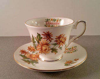 Vintage Cup and Saucer. Duchess Fine Bone China. November Flower of the Month Birthday with Golden Brown Flowers. Collectibles. Gift for Her