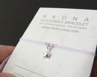 Lucky star bracelet, twinkle, little star charm, gift for girl or best friend, sterling silver