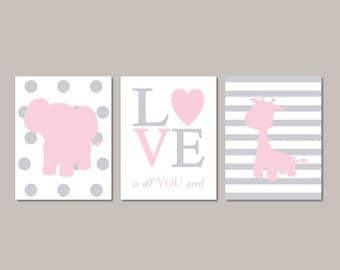 ELEPHANT Nursery Art Elephant Nursery Decor Baby Girl Nursery Art GIRAFFE Love Is All You Need  Light Pink Gray Set of 3 Prints Or Canvas