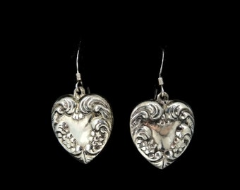 Art Nouveau Style Silver Heart Dangle Earrings c1980