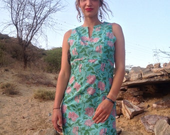 SALE 40% Off!-Blue Long Ibiza summer dress with double  side split made in pure cotton and traditional block print fabric